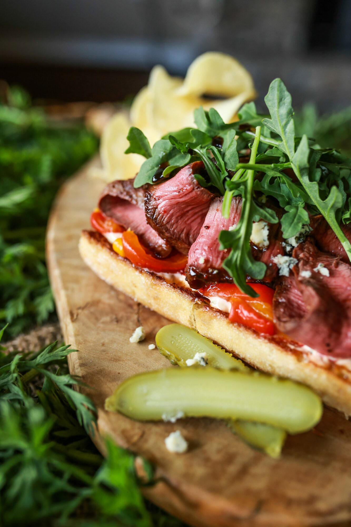 Bison Steak Sandwich with Sriracha Mayo & Blue Cheese